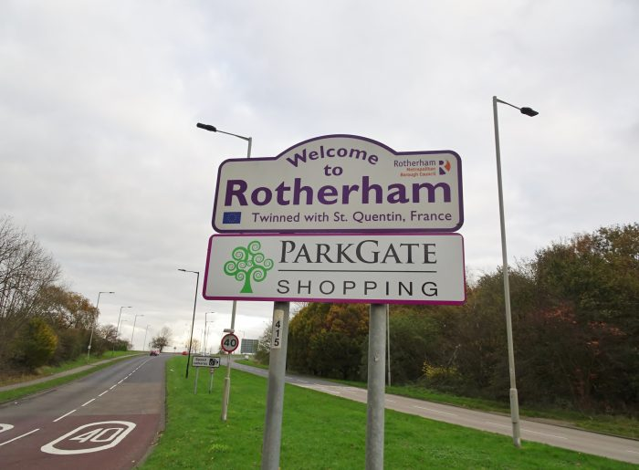A photo of a welcome to Rotherham sign